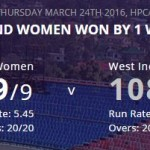 Women's World T20- England Women won against West Indies Women by One wicket