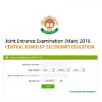 Admit Card Available Online for CBSE Joint Entrance Examination (JEE), (Main) – 2016