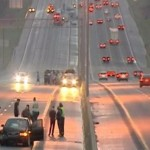 Chain of accidents involving 94 cars on the Interstate-40, US highway, 20 hurt